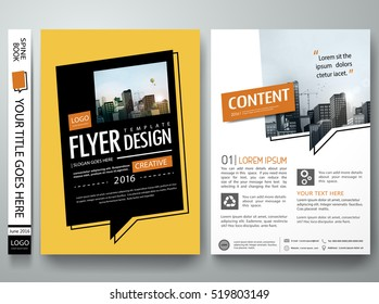 Brochure design template vector. Text box layout in cover book portfolio presentation poster. City concept in A4 size. Minimal flyers report business magazine.