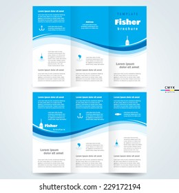 brochure design template vector tri-fold fisher, cmyk profile