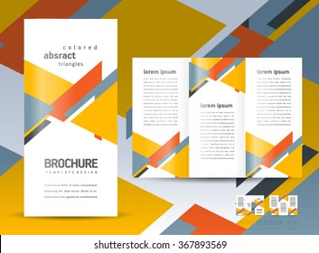 Brochure design template vector tri-fold geometric abstract