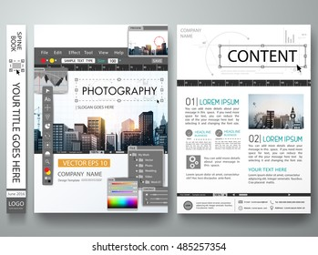 Brochure design template vector.Photography editor monitor.Cover book portfolio presentation poster.City concept in A4 size.Flyers business photo magazine layout.Workspace designer or illustrator.