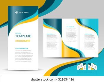 brochure design template wave curves