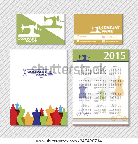 Brochure Design Templates Fashion Sewing Industry Stock Vector
