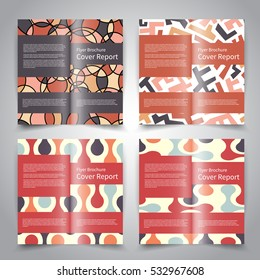 Brochure design templates set with abstract geometric ornament background. Retro colors. Vector brochure mockup EPS10