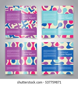 Brochure design templates set with abstract geometric background. Purple, pink, blue, white colors. Vector brochure mockup EPS10