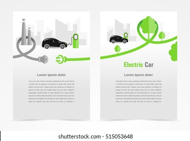 Brochure electric car template design cover, flyer print size A4 booklet business report, silhouette car and cable plug charging city background