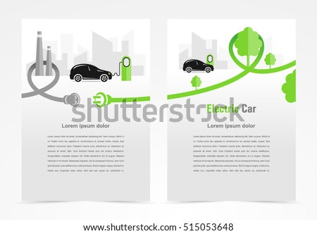 Brochure Electric Car Template Design Cover Stock Vector Royalty