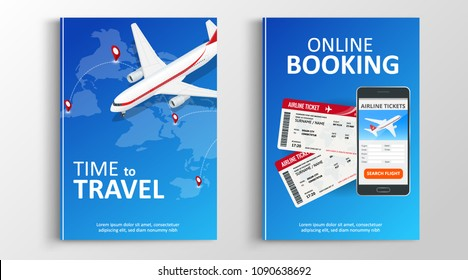 Brochure or flaer travel and online bookung concept. Travel template of flyear, magazines, posters, book cover, banners. Summer vacation. Planning trip. Use in corporate report, presentation, website.
