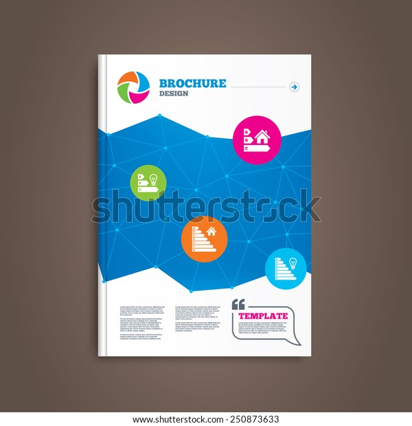 Brochure or flyer design. Energy efficiency icons. Lamp bulb and house building sign symbols. Book template. Vector