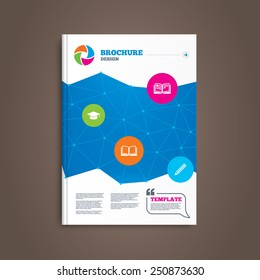 Brochure or flyer design. Pencil and open book icons. Graduation cap symbol. Higher education learn signs. Book template. Vector