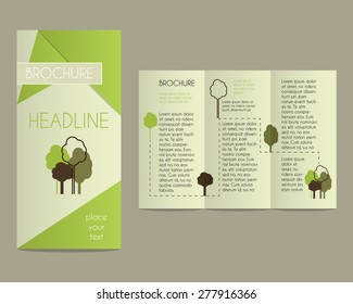 Brochure and flyer design template in polygonal style concerning to ecology, organic themes with infographic elements and eco logo template. Unusual and unique concept. Vector illustration.