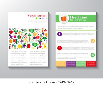 Brochure Flyer design vector layout template with an illustration of fruits and vegetables vegearianskogo menu with the concept of a healthy lifestyle. vector