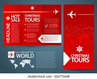 Brochure Flyer design vector template. Airplane &  Christmas Travel.