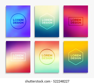 Brochure flyer layouts in A4 size. Abstract geometric blurred backgrounds set. Vector illustrations for poster, card templates, annual report cover, magazine or website promotional banner design.