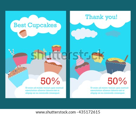 brochure flyer template cupcakes clouds doubleside stock vector
