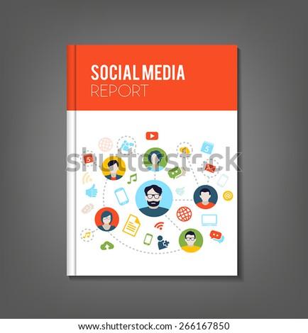 Brochure Flyer Template Social Media Topics Stock Vector Royalty