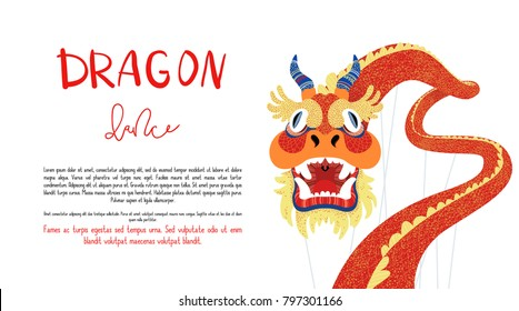 Brochure or flyer vector template for dragon dance. Illustration of a traditional asian dragon.