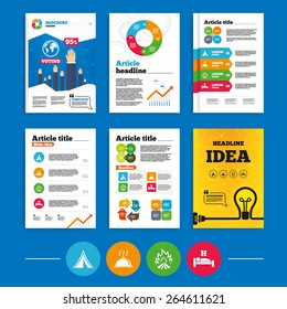 Brochure or flyers design. Hot food, sleep, camping tent and fire icons. Hotel or bed and breakfast. Road signs. Business poll results infographics. Vector