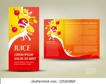 brochure folder juice fruit drops liquid orange red element design / cmyk, no transparent
