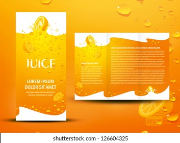 brochure folder juice fruit drops liquid orange element design / cmyk, no transparent