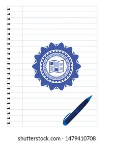 brochure icon pen effect. Blue ink. Vector Illustration. Detailed.
