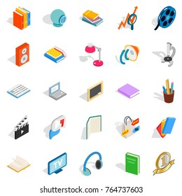 Brochure icons set. Isometric set of 25 brochure vector icons for web isolated on white background