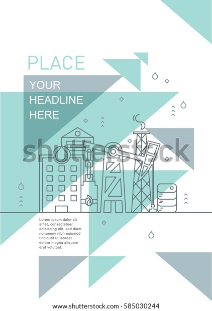 Brochure Layout Design Construction Icons Line Stock Vector (Royalty