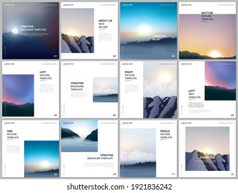 Brochure layout of square covers templates for square flyer leaflet, brochure design, presentation, magazine. Fog, sunrise in morning and sunset in evening. Nature landscape backgrounds with mountains