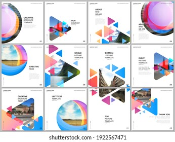 Brochure layout of square format covers design templates for square flyer leaflet, brochure design, report, magazine cover. Colorful simple design background for professional business agency portfolio