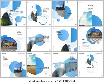 Brochure layout of square format covers design templates for square flyer leaflet, brochure design, report, presentation, magazine cover. Simple design background with circles, geometric round shapes.