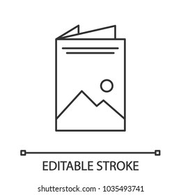 Brochure linear icon. Thin line illustration. Leaflet. Contour symbol. Vector isolated outline drawing. Editable stroke