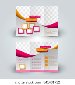 Brochure mock up design template for business, education, advertisement. Trifold booklet editable printable vector illustration. Orange and pink color