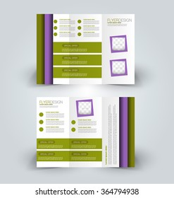 Brochure mock up design template for business, education, advertisement. Trifold booklet editable printable vector illustration. Purple and green color.