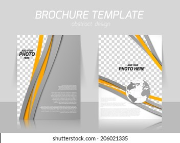Brochure with orange and gray lines and globe for booklet cover design