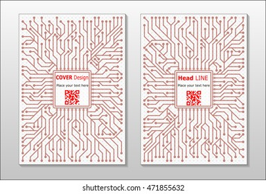 Brochure with a pattern a microprocessor and circuitry. Leaflet cover presentation abstract flat background. Annual report brochure design template vector