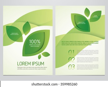 Brochure, poster, annual report, flyer, magazine vector template. Modern green leaf, environment design.
