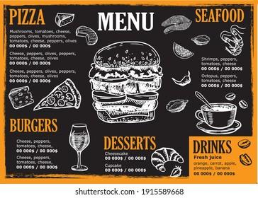 Brochure Restaurant , menu, Smoothie, template design. Food flyer. Hand-drawn style.