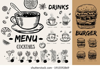 Brochure Restaurant , menu, template design. Food flyer. Hand-drawn style.