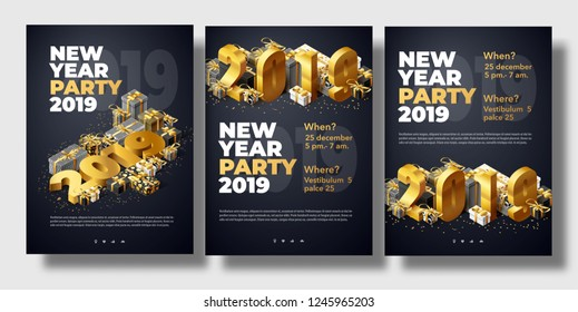 brochure set new year 2019 place for text