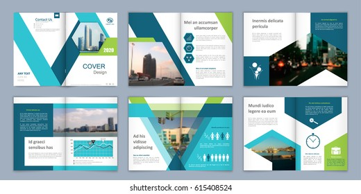 Brochure template. Book cover design. Title sheet. Abstract composition with images. Blue green, turquoise geometric shapes. Set A4 interesting vector illustration. Minimalistic. Creative. Modern.