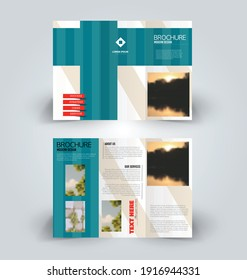 Brochure template. Business trifold flyer.  Creative design trend for professional corporate style. Vector illustration. Blue color.