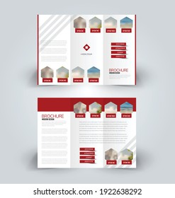 Brochure template. Business trifold flyer.  Creative design trend for professional corporate style. Vector illustration. Red color.