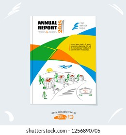 Brochure template, cover design, annual report, magazine layout with hand drawn suburb picture, vector illustration for real estate project