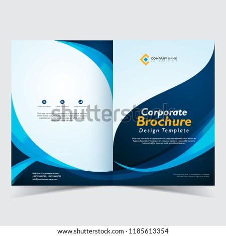 brochure template design bi fold corporate brochure stock vector