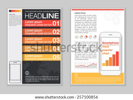 brochure template design infographic elements charts のベクター画像
