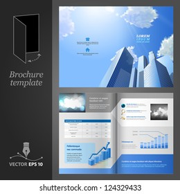 Brochure template design. Modern business center.
