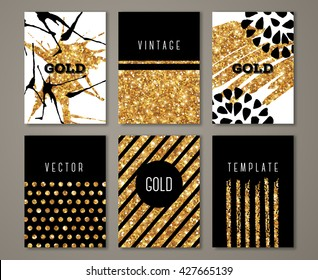 Brochure template design set with brush stroke and geometric elements. Vector illustration. Grunge vintage cards with golden paint, retro style poster or flyer. Polka dots and stripes on gold