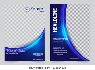 Brochure template, Flyer design, blue abstract vector background.