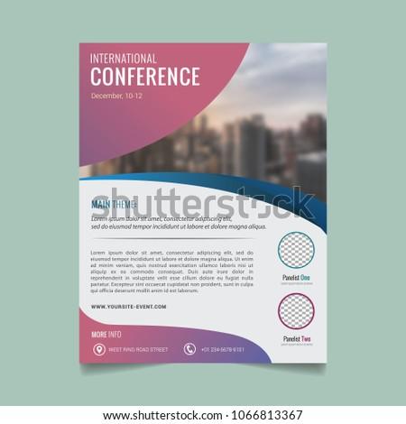 brochure template flyer design seminar conference stock vector