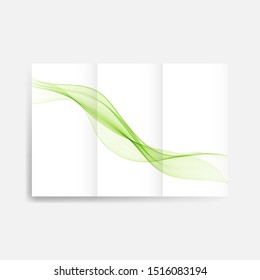 Brochure template with green smoke stream. Green wave.