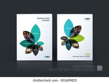 Brochure template layout collection, cover design annual report, magazine, flyer in A4 with flower petals shapes for business, nature idea. Abstract vector design.